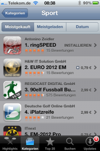 meistgekaufte App Kategorie Sport - Platz 1