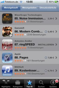 meistgekaufte App in Deutschland - Platz 87